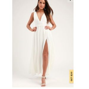 Lulus Heavenly Hues White Maxi Dress